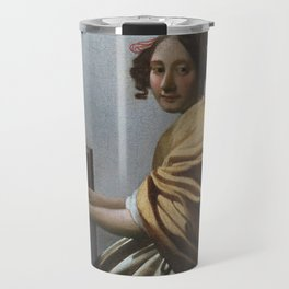 """Johannes Vermeer """"A Young Woman Seated at the Virginal"""" Travel Mug"""