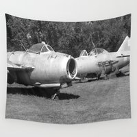 planes Wall Tapestries featuring vintage planes by Victoria Rushie