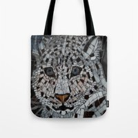 snow leopard Tote Bags featuring Snow Leopard by ira gora