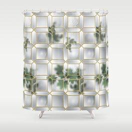 Art Deco Glass Partition Shower Curtain