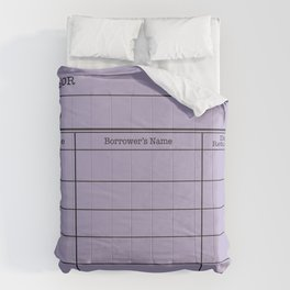 LiBRARY BOOK CARD (violet) Comforters