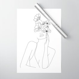Minimal Line Art Woman with Flowers Wrapping Paper