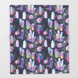Moths and Crystals Throw Blanket