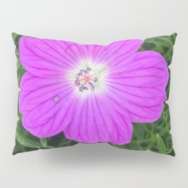 Purple Flower on Textured Leaves Pillow Sham