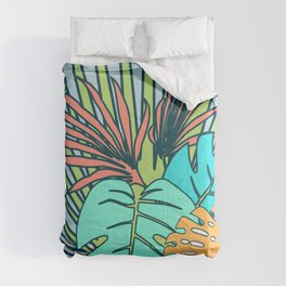 Tropical leaves blue Comforters