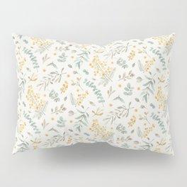 Australian wattle and eucalyptus watercolor floral Pillow Sham