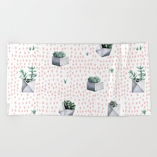 Potted Succulents Pink Polka Dots Beach Towel