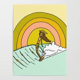 spread sunshine lady slide rainbow surf Poster