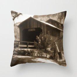 History Lost the Honey Run Covered Bridge Throw Pillow
