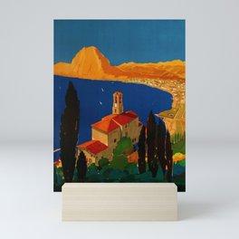 Vintage Swiss Riviera Travel Poster Lugano Lake Monte San Salvatore Mini Art Print