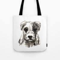 puppy Tote Bags featuring Puppy  by Cedric S Touati