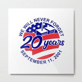 9-11 Memorial Patriot Day September 11 2001 20 Years Tribute Circle Retro Color Metal Print