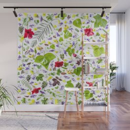 Leaves and flowers pattern (27) Wall Mural