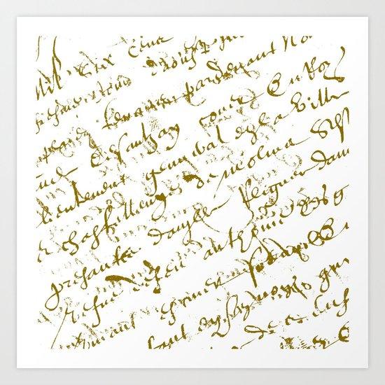 French Script on white Art Print