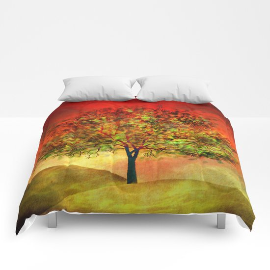 Tree at Sunset Comforters
