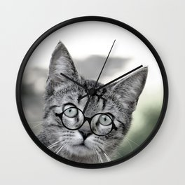 Old Lady Cat with Glasses Wall Clock