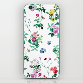 Roses, Moth Orchids, Lilies - Green Pink Blue iPhone Skin