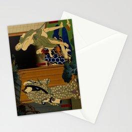 Japanese Woodblock Print, Samurai, Vintage Art Stationery Cards
