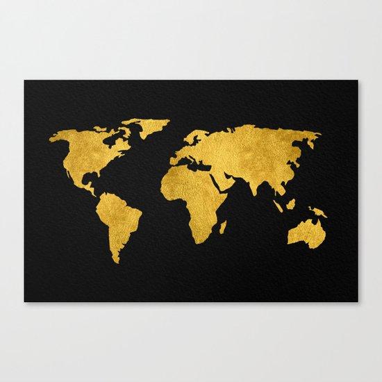 Metallic Gold Foil World Map On Black Canvas Print