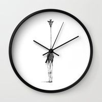 is the new black Wall Clocks featuring Giraffe by Nicole Cioffe