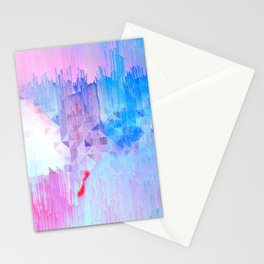 Abstract Candy Glitch - Pink, Blue and Ultra violet #abstractart #glitch Stationery Cards