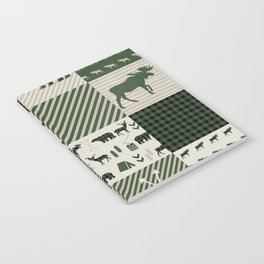 Camping hunter green plaid quilt cheater quilt baby nursery cute pattern bear moose cabin life Notebook