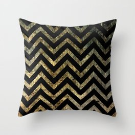 Brass Chevrons Throw Pillow
