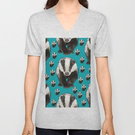 Badger Pattern on Teal / Turquise Unisex V-Neck