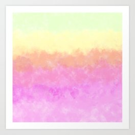 Abstract pink coral sunshine yellow watercolor brushstrokes Art Print