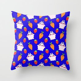 Cute funny Kawaii pink little baby bunnies, happy orange carrots and ripe juicy summer strawberries adorable midnight blue navy fruity pattern design. Nursery decor ideas. Throw Pillow