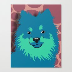 Olie the Pomeranian in Blue Canvas Print
