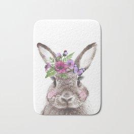 Bunny with flowers Bath Mat