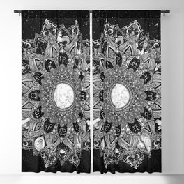 Zodiac Signs Mandala with Starry Background Blackout Curtain