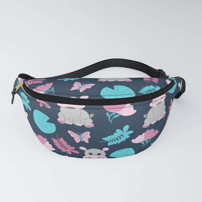 Cute Pink Teal Hippo Floral Butterfly Lily Pad Fanny Pack