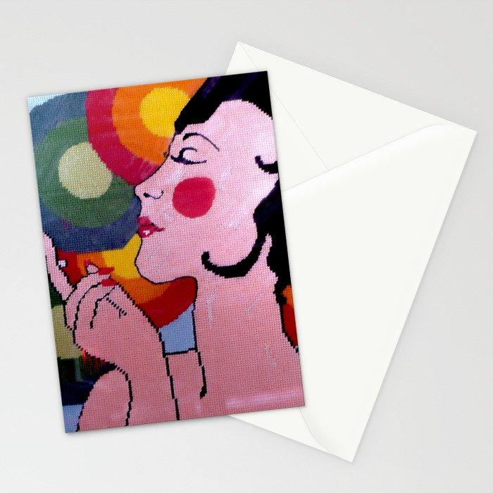 Pop Art lady by Lika Ramati Stationery Cards
