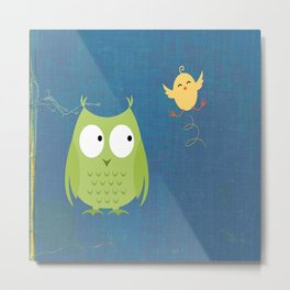 Minimalist Owl And Bird Metal Print