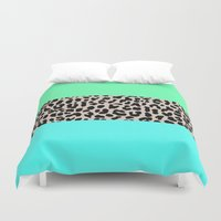 the national Duvet Covers featuring Leopard National Flag XIV by M Studio