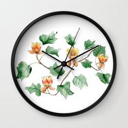 Botanical watercolor illustration of a Tulip tree. Wall Clock