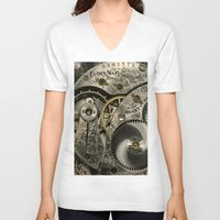 clockwork V-neck T-shirts featuring Clockwork Homage by DebS Digs Photo Art