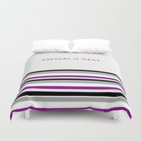 asexual Duvet Covers featuring Asexual Is Okay by jess