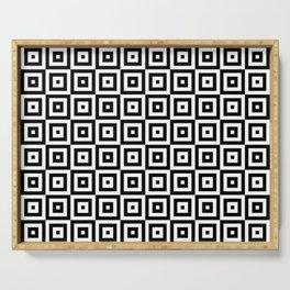 Black & White Geometric Square Pattern Serving Tray