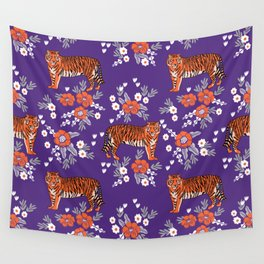 Tiger Clemson purple and orange florals university fan variety college football Wall Tapestry