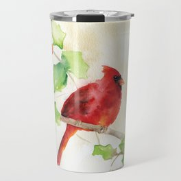 Cardinal and Holly Watercolor Travel Mug