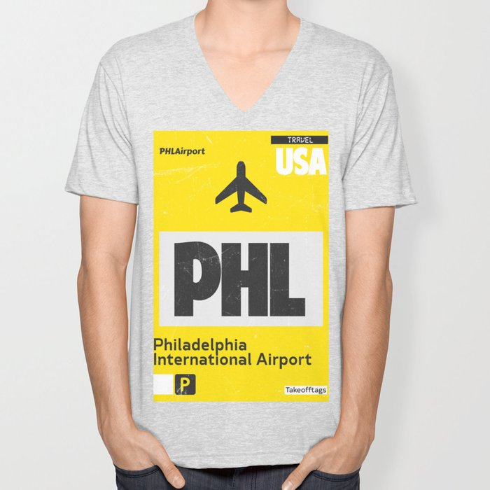 PHL Philadelphia airport code yellow Unisex V-Neck