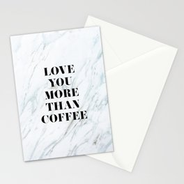 Love You More Than Coffee Typo Stationery Cards