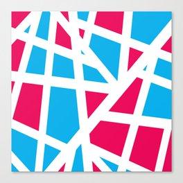 Abstract Interstate  Roadways Aqua Blue & Hot Pink Color Canvas Print