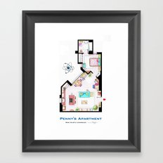 Penny's apartment floorplan from TBBT Framed Art Print