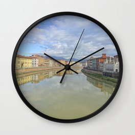 Colorful old houses in Pisa, Tuscany, Italy Wall Clock