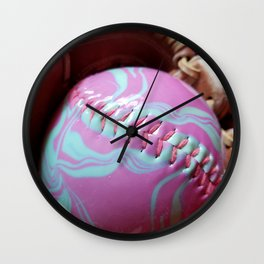 Pink and Green Softball and Glove Wall Clock