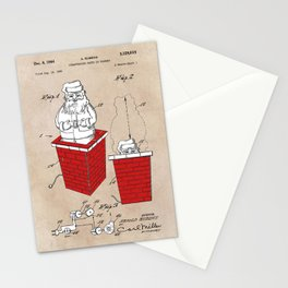 patent art Rubens Disappearing Santa in Chimney 1960 Stationery Cards